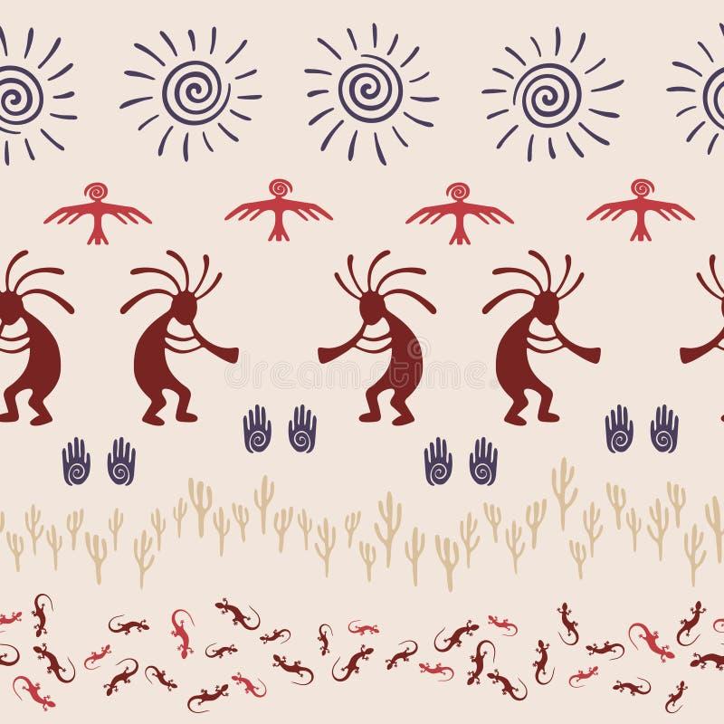 Mythisch, ontwerp met hagedis, Kokopelli-vruchtbaarheidsdeity, zon, adelaar, cactussen vector illustratie
