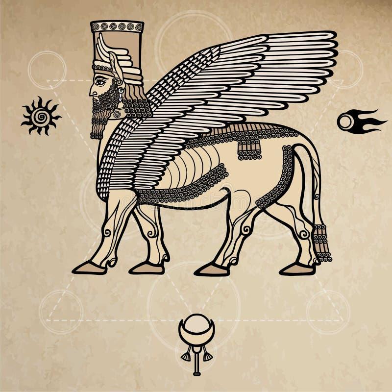 Mythische Assyrian-deity gevleugelde stier van Shedu stock illustratie