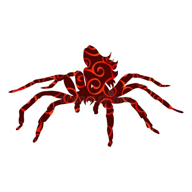 Mytholog antico della siluetta del modello della donna del mostro del ragno aracne illustrazione vettoriale