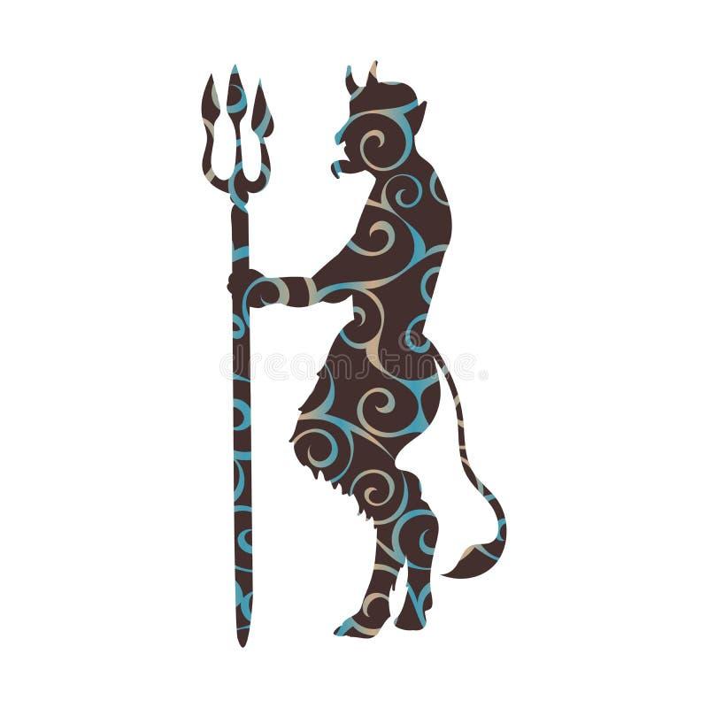 Mytholog antiguo de la silueta del modelo del tridente de la religión del demonio del diablo stock de ilustración