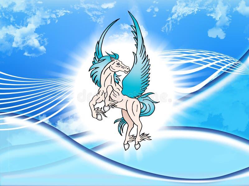 The mythological blue Pegasus vector illustration