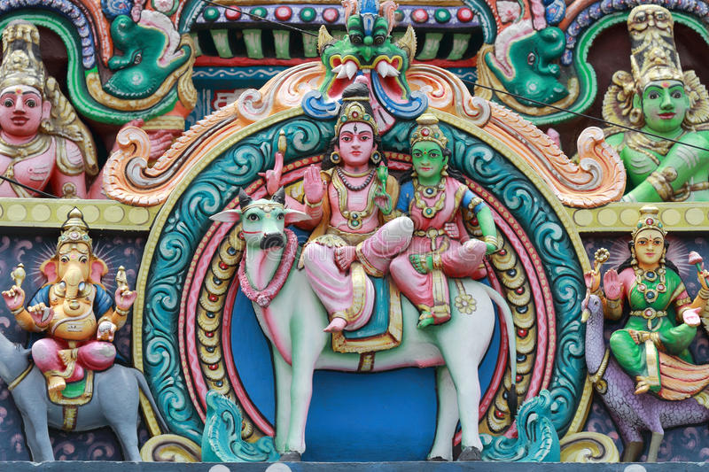 Mythological characters. Relief works of the mythological characters in the famous Meenakshi temple in Madurai, Tamil Nadu, India royalty free stock photo