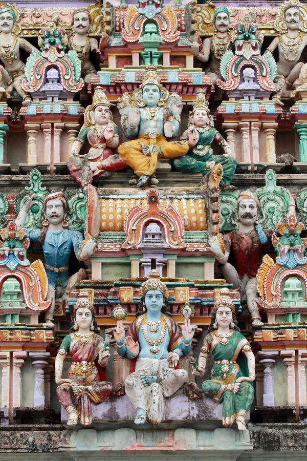 Mythological characters. Relief works of the mythological characters in the famous Meenakshi temple in Madurai, Tamil Nadu, India stock photos