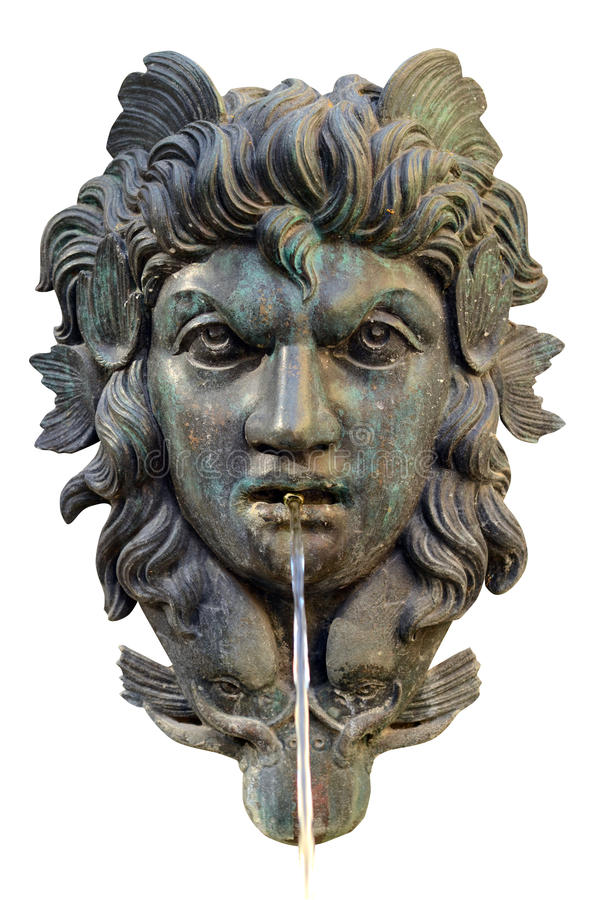 Mythological Fountain Face. Isolation Of An Ornate Water Fountain With Mythological Face stock photography