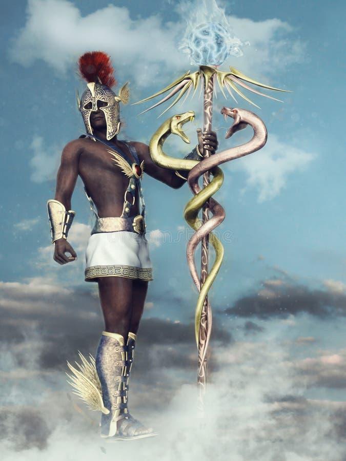 Mythological god Hermes royalty free illustration