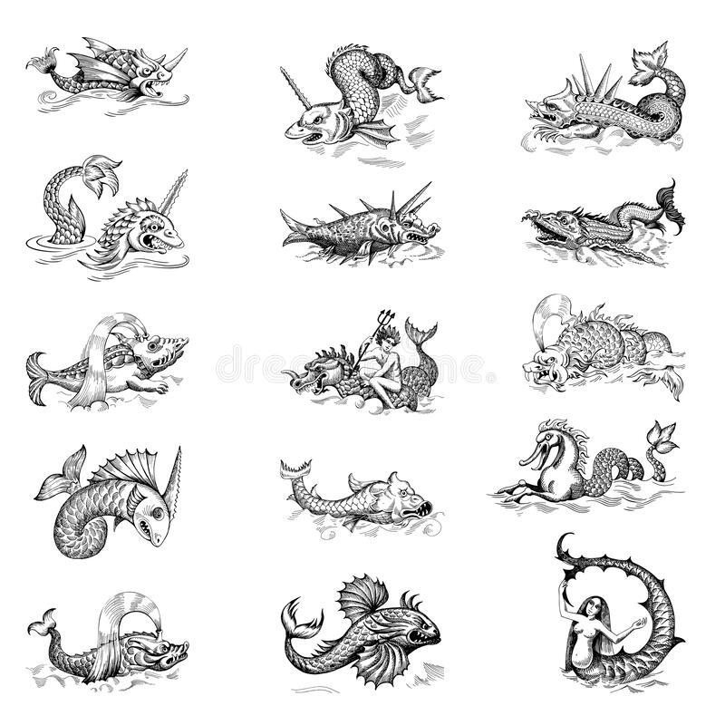 Free Mythological Vintage Sea Monster. Fragment Design Of Old Pirate Or Fantasy Geographical Map Stock Images - 188085074