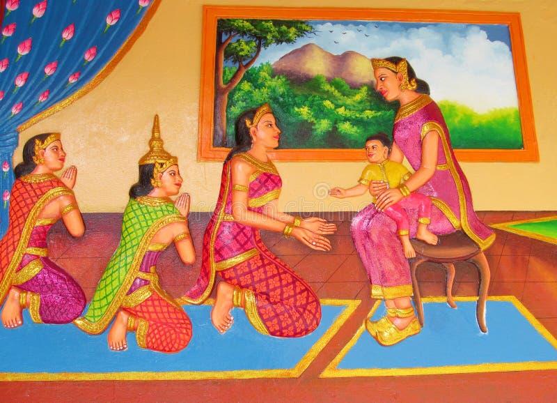 Mythologisch beeld op de muur van Aziatische tempel royalty-vrije stock afbeeldingen