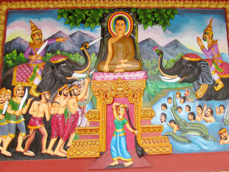 Mythologisch beeld op de muur van Aziatische tempel royalty-vrije stock foto