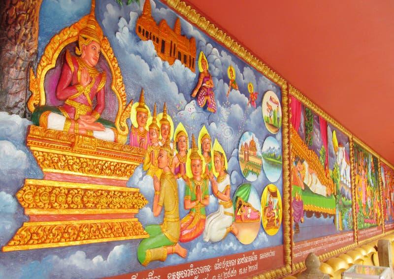 Mythologisch beeld op de muur van Aziatische tempel stock afbeelding
