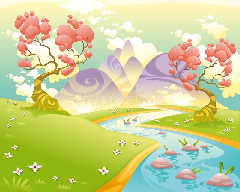 Mythologisch landschap met rivier. stock illustratie