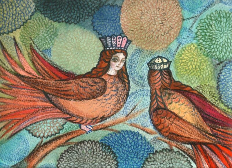 Mythologische Sirin Vögel lizenzfreies stockbild