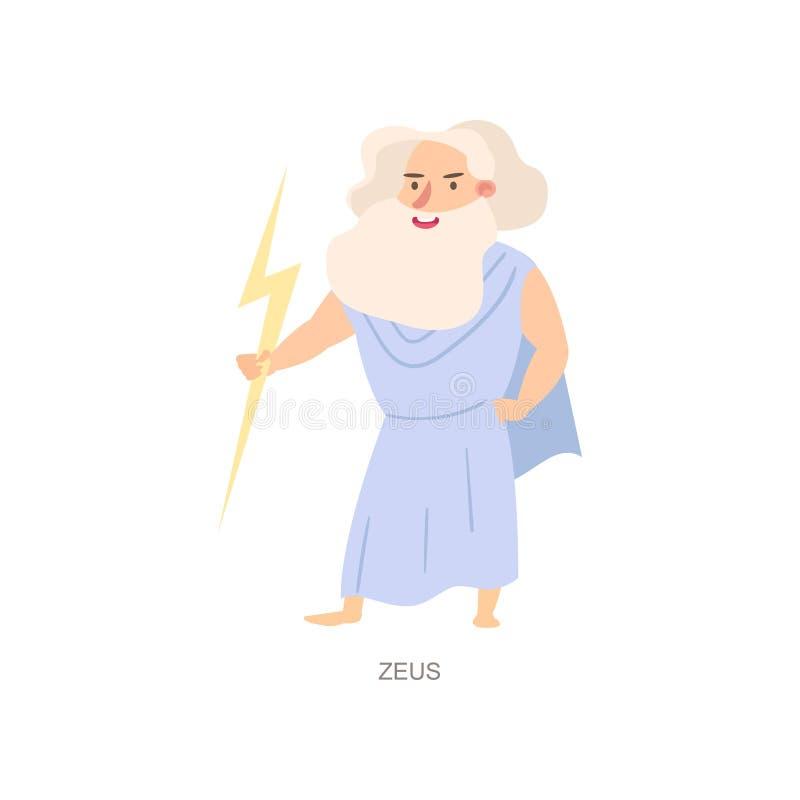 Mythology greek ancient god zeus, white beard. With lighting bolt in hand. Flat style. Vector illustration on white background royalty free illustration