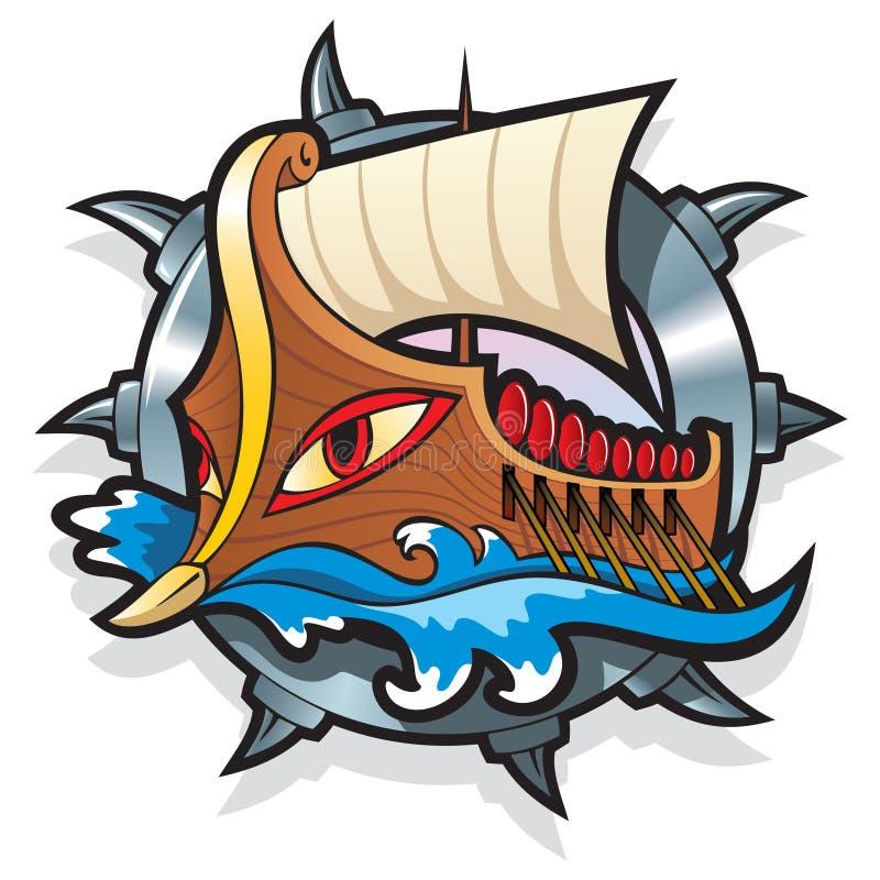 Myths: Argo. Argo, in Greek mythology, the legendary ship on which Jason and the Argonauts sailed to retrieve the Golden Fleece, vector illustration stock illustration
