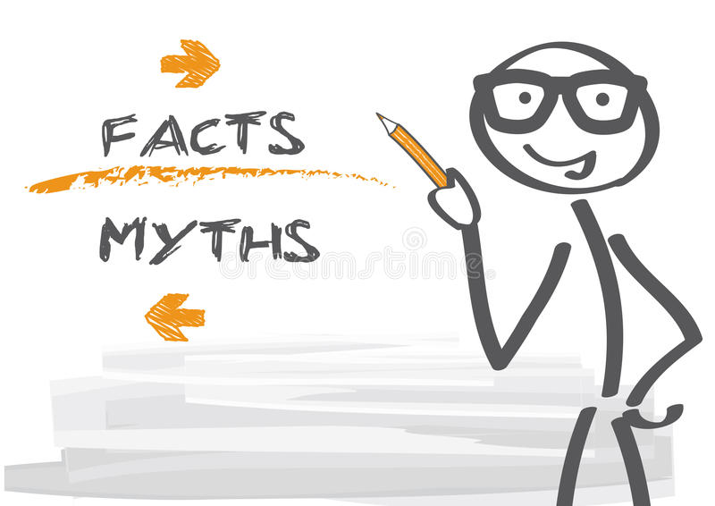 Myths and facts vector illustration