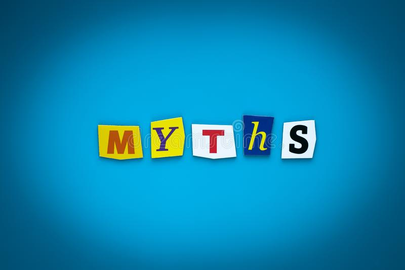 Myths - word on blue background from colorful letters. Concept of exposing, disclosure. Text, message on poster. Headline, caption royalty free illustration