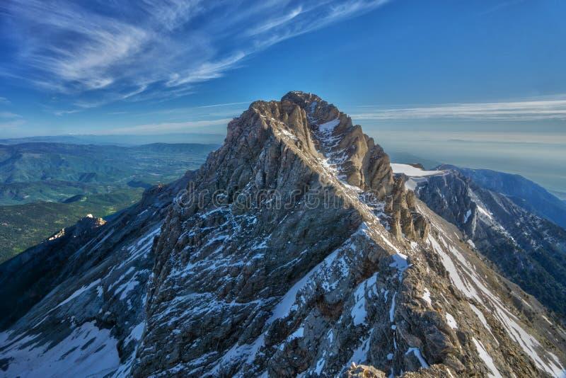 Mytikas wysoki szczyt góra Olympus przy Grecja zdjęcia royalty free