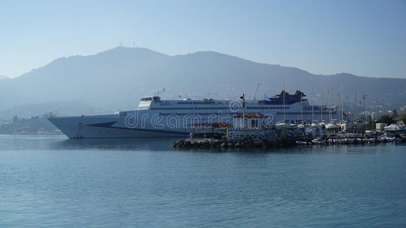 Mytilene port image stock