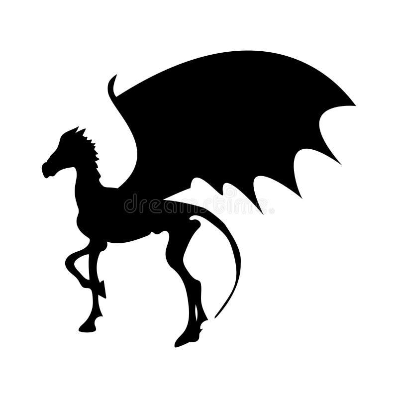 Mytisk djur fantasi Thestral för skelett- hästkontur stock illustrationer