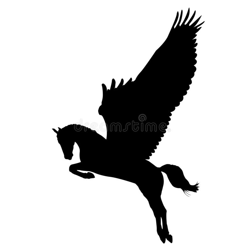 Mytisk vektorkontur av pegasus och fantasidjuret royaltyfri illustrationer