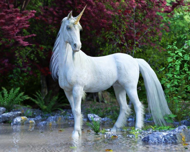 Mytisk vit enhörning som poserar i en förtrollad skog royaltyfri illustrationer