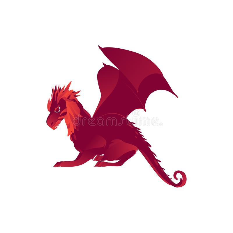 Mytiskt mytologiskt rött tecken för flygdrake stock illustrationer