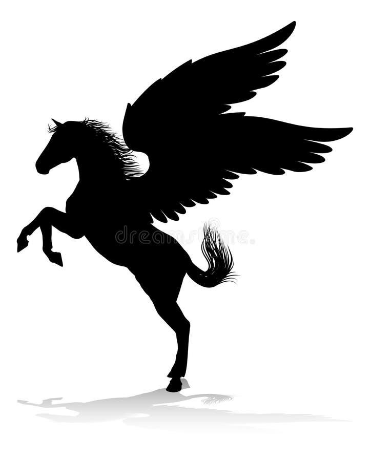 Mytologisk bevingad häst för Pegasus kontur stock illustrationer