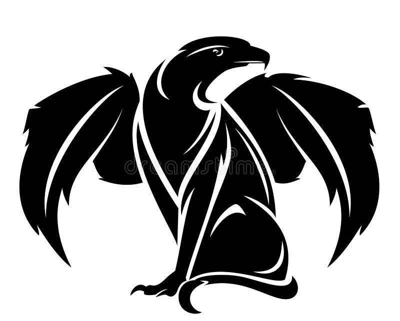 Mytologisk design för vektor för gripfäsvart stock illustrationer