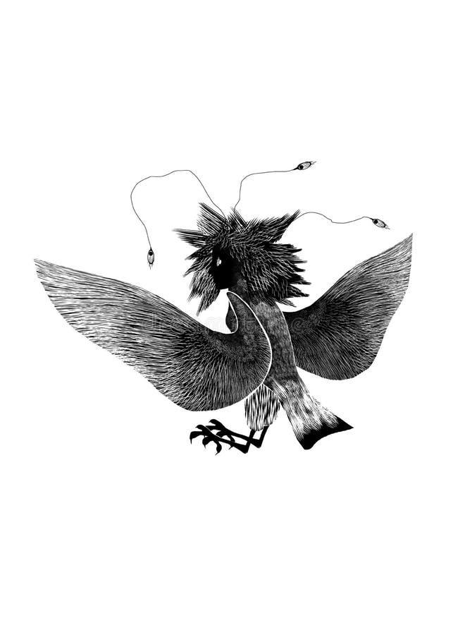 Mytologisk djur fågelkvinnlig Gamayun på vit bakgrund, svart kontur Stiliserad folk hednisk teckning vektor illustrationer