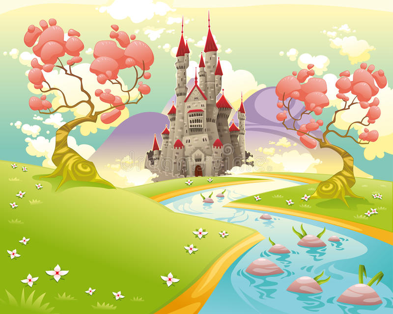 Mytologiskt landskap med den medeltida slotten. royaltyfri illustrationer