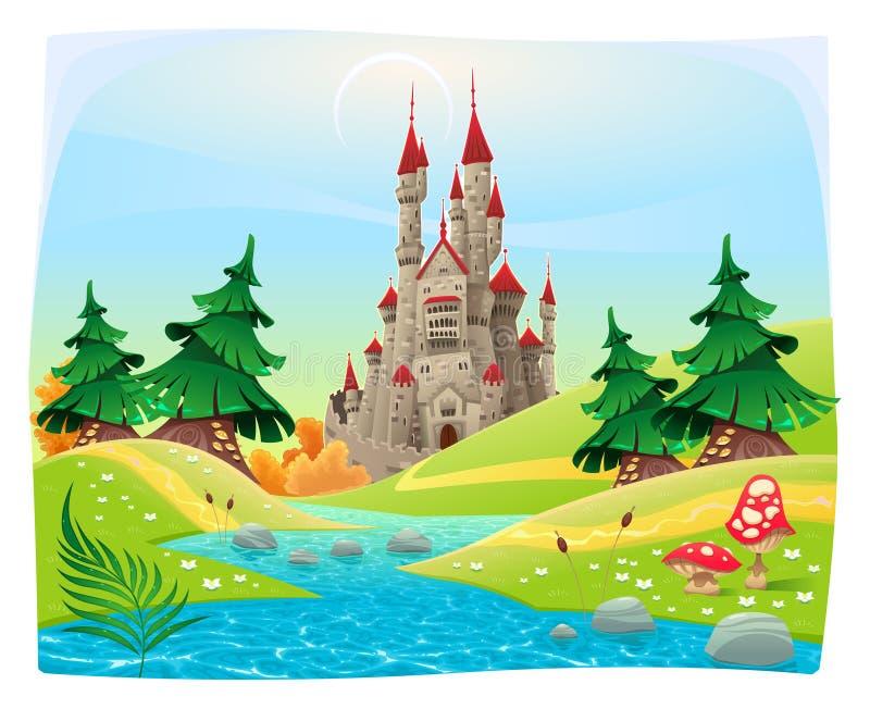 Mytologiskt landskap med den medeltida slotten. stock illustrationer