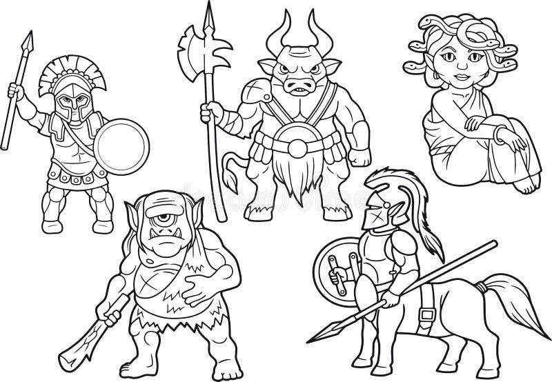 Mytologiuppsättning av tecknad filmbilder vektor illustrationer