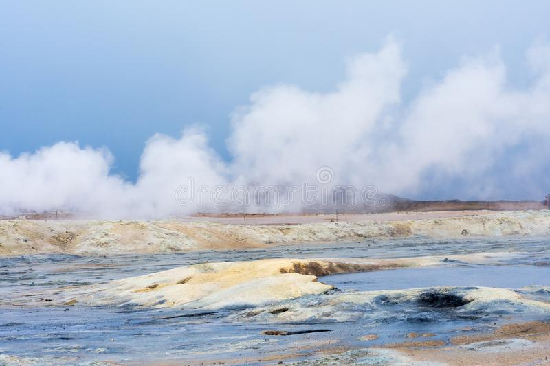 Myvatn geothermal area. Smoke from the ground stock image