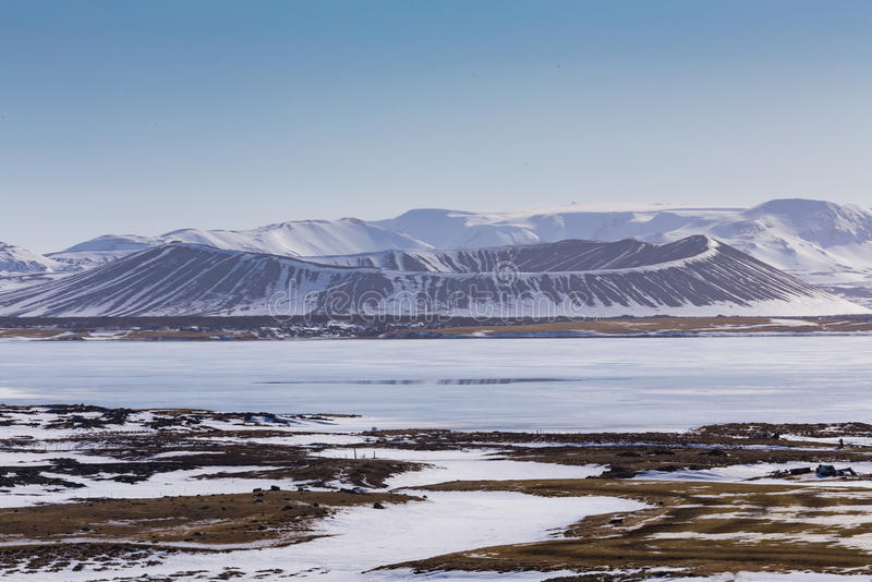 Myvatn Volcano winter season natural landscape. With clear blue sky background, Iceland stock photos