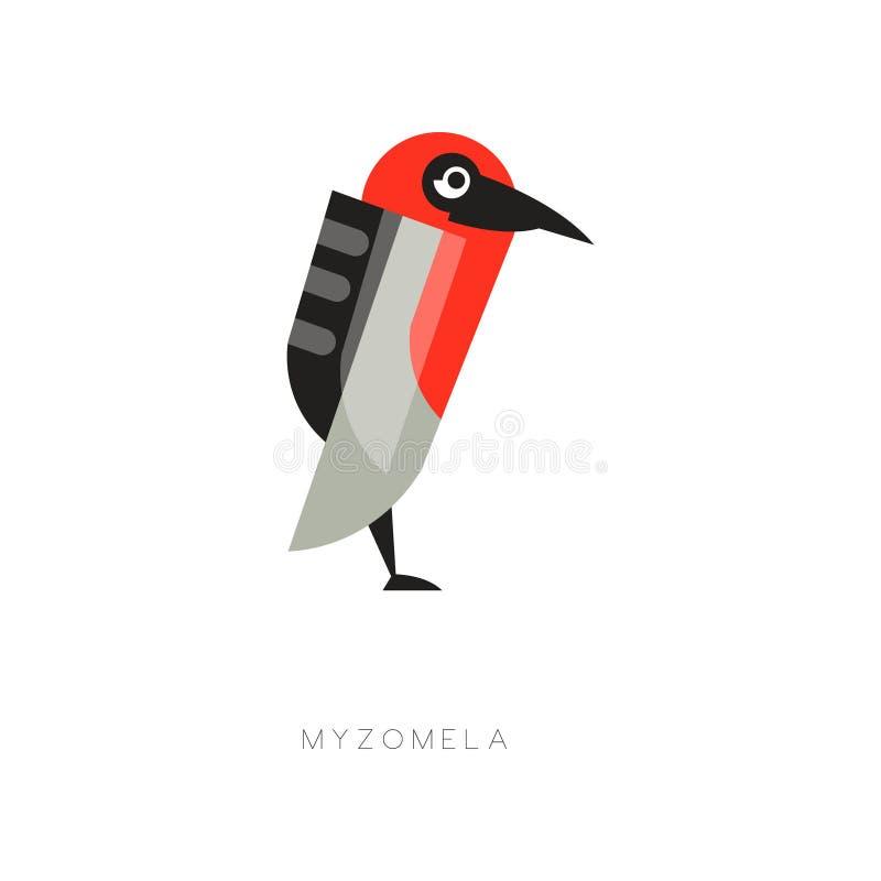 Myzomela colorido composto de formas geométricas simples Silhueta do pássaro abstrato Ícone da Web no estilo liso Vetor ilustração stock