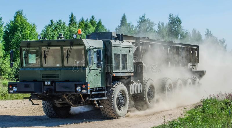 MZKT-79291 12Ñ… 12是白俄罗斯语多轨车,被设计搭载弹道导弹 库存照片