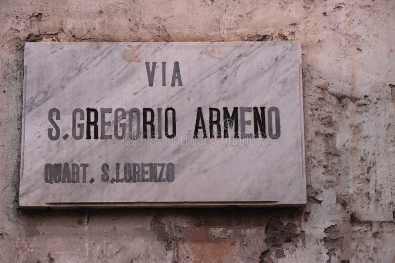 Nápoles, el pesebre en la calle de San Gregorio Armeno fotografía de archivo libre de regalías