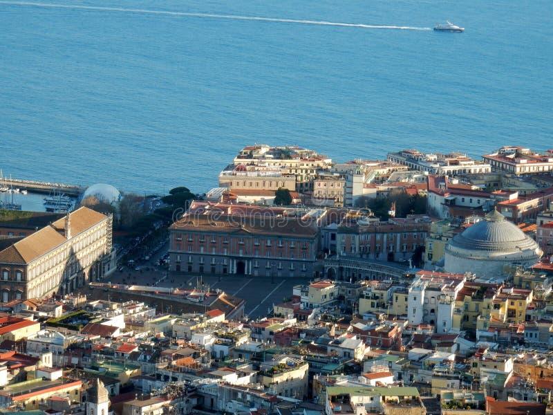 Nápoles - Piazza del Plebiscito de San Martín foto de archivo libre de regalías
