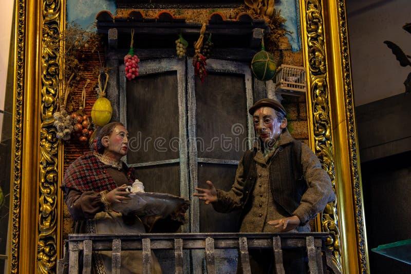 Nápoles, San Gregorio Armeno, um pastor da ucha, um caráter refinado do teatro italiano foto de stock royalty free
