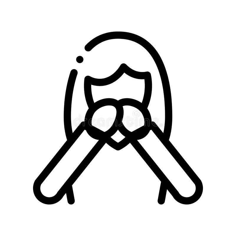 Náusea Symptomp de la línea fina icono del vector del embarazo stock de ilustración
