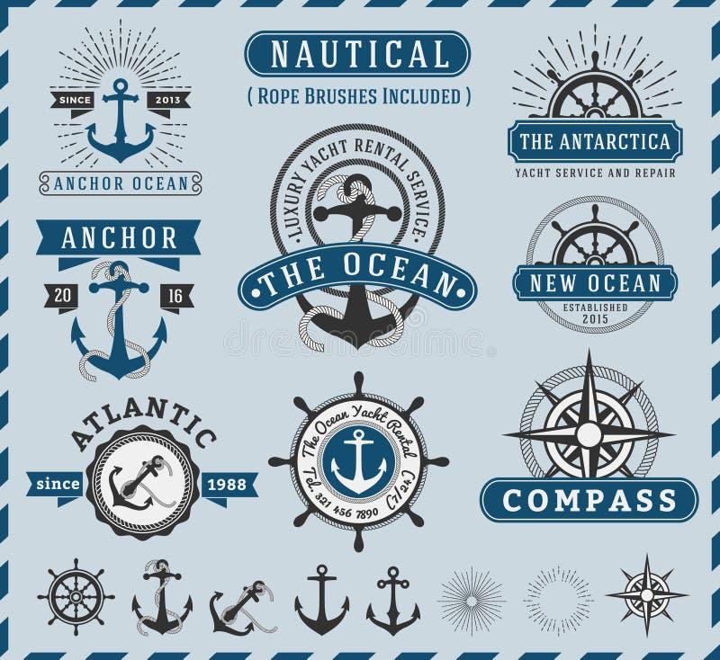 Náutico, NaSeafaring y vintage marino del logotipo de las insignias ilustración del vector