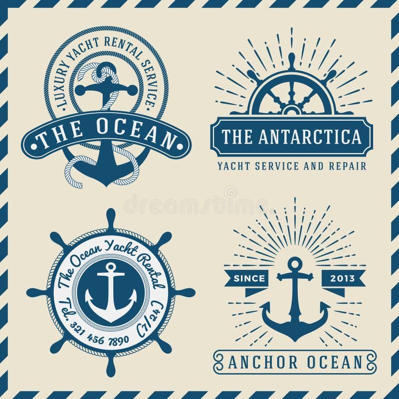Náutico, navegacional, marinería y vintage marino del logotipo de las insignias diseñe stock de ilustración