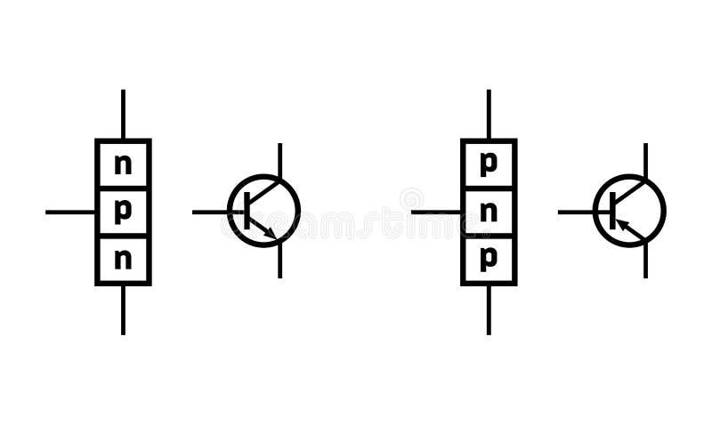 N–p–n和p–n–p双极结晶体管 向量例证
