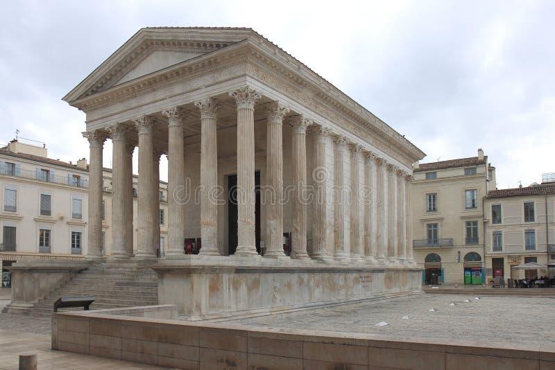 Nîmes,罗马寺庙Maison Carrée,法国 库存图片