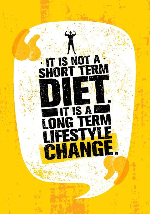 Não é dieta do curto período de tempo É uma mudança a longo prazo do estilo de vida Citações da motivação da nutrição ilustração royalty free