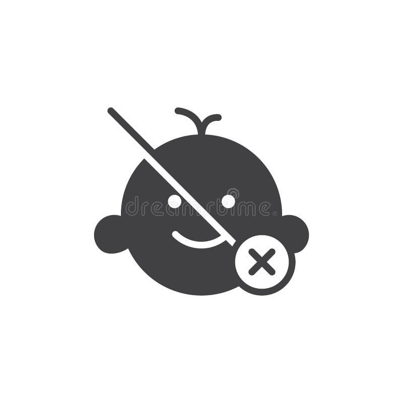 Não apropriado para o vetor do ícone do menor de idade x das crianças ilustração royalty free