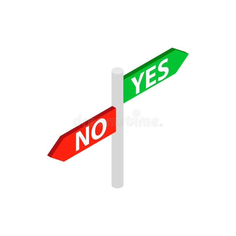 Não assine sim nenhum ícone, estilo 3d isométrico ilustração do vetor