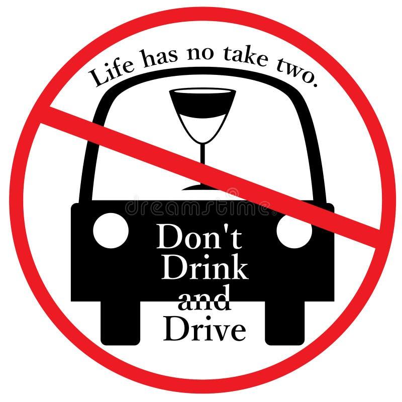 Não beba e não conduza o sinal ilustração stock