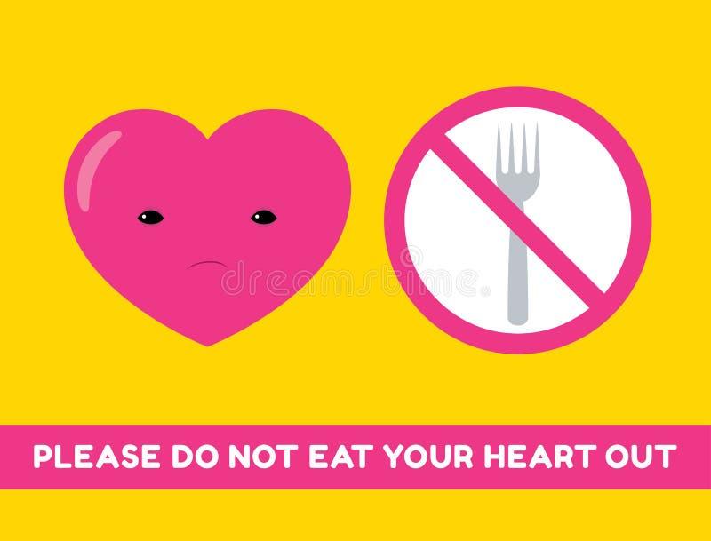 Não coma sua etiqueta do coração ilustração stock