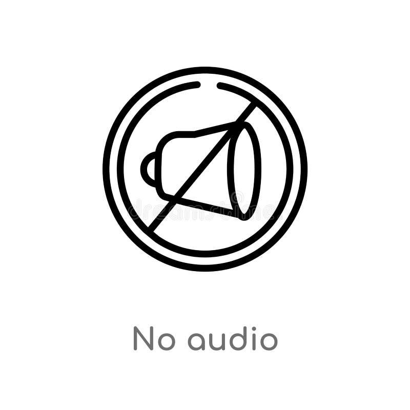 não esboce nenhum ícone audio do vetor linha simples preta isolada ilustra??o do elemento do conceito da tecnologia curso edit?ve ilustração royalty free