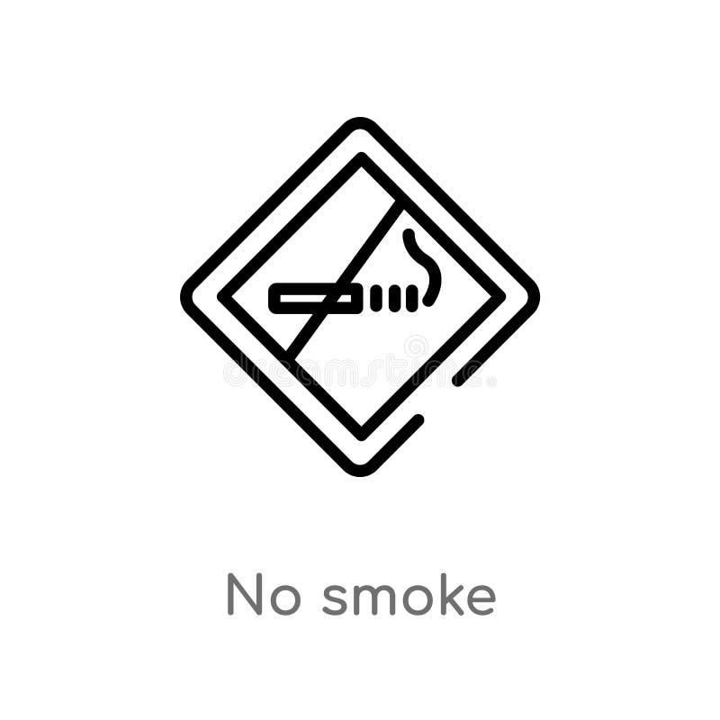 não esboce nenhum ícone do vetor do fumo linha simples preta isolada ilustração do elemento de sinalizar o conceito curso editáve ilustração royalty free